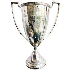 Large Vintage 1933 Silver Plated Golf Trophy