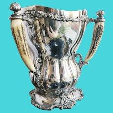 1910 Silver Plated Tug of War Trophy with Deer Antler Handles