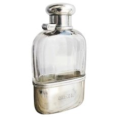 Antique Tiffany & Co Sterling Silver and Glass Ladies Flask
