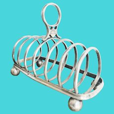 Antique English P&O Steamship Silver Plated Toast Rack