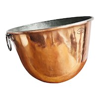 Monumental Antique Dovetailed Copper Mixing Bowl