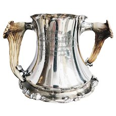 1910 Silver Plated California Poultry Trophy with Deer Antler Handles