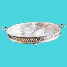 Vintage Silver Plated Crudités Tray from Chateau Crillon in Philadelphia
