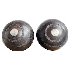 Pair of Antique 1911 Sterling & Wood Trophy Lawn Bowling Balls
