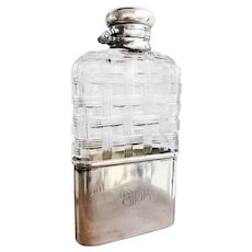 Antique Tiffany & Co Sterling Silver and Glass Flask