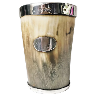 Antique 1895 Sterling and Horn Cup