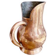 Massive Antique French Copper Wine Pitcher