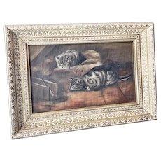 1885 Oil Painting of Kittens in Gilded Frame