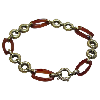 Vintage  Art Deco Bracelet Pairs Carnelian Links 14k Gold Repousse Geometric