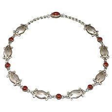 Georg Jensen Art Nouveau Style Sterling Silver Necklace Moonlight Blossom # 15 Carnelian Stones