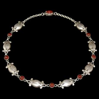 Georg Jensen Art Nouveau Style Sterling Silver Necklace Moonlight Blossom # 15 Carnelian Stones