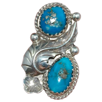 Vintage Southwest Style Sterling Silver Ring Bright Blue Bisbee Blue Turquoise Size 7 Pyrite Quartz