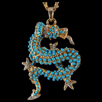 Mid Century 1970's Kenneth J Lane Dragon Pendant Necklace Faux Turquoise Gold Tone