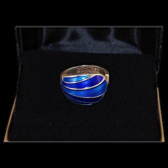 Mid Century David Andersen Guilloche Enamel Ring Blue