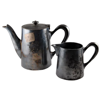 Vintage Ercuis 1920's Art Nouveau Personal Coffee Pot and Creamer, Hudson Design