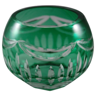 Vintage Bohemian Czech Glass Votive Candle Holder in Emerald Green