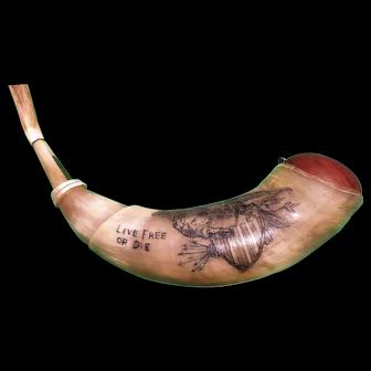 "Scrimshaw Carved Powderhorn From Master Carver Niko ""Live Free Or Die"""