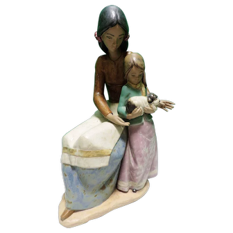 Large Retired Lladro Figurine Family Love With Original Box Gres Finish