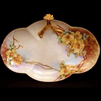 Antique Limoges Porcelain BonBon Dish Tray Split Handle Hand Painted Yellow Flowers Wild Roses Floral
