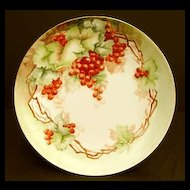 Antique Rosenthal German Porcelain Plate Hand Painted Currants Berries Orange Red Berry