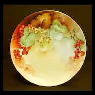 Antique Hand Painted Bavarian Porcelain Plate Currants Berries Orange Red Berry Artist Signed & Dated