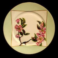 Antique Haviland Limoges Porcelain Plate Hand Painted Pink Flowers Artist Initialed Dated 1884!