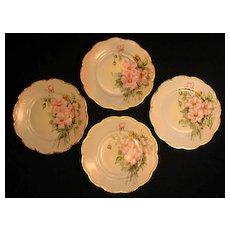 Antique Haviland Limoges Porcelain Cake Dessert Plates Hand Painted Pink Roses Wild Roses Floral Decoration