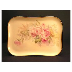 Antique Limoges Porcelain Dresser Perfume Tray Hand Painted Pink Roses Artist Signed