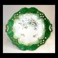 Antique German Porcelain Bowl Dish Reticulated Flowers Floral Handles