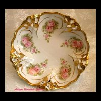 "Antique German Rosenthal Porcelain~Blown Out Reticulated Center Bowl With Pink ""ROSES"" Decoration"