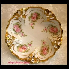 """Antique German Rosenthal Porcelain~Blown Out Reticulated Center Bowl With Pink """"ROSES"""" Decoration"""
