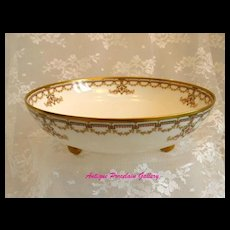 Antique Haviland Limoges Footed Bowl ~ Double Marked ~ Factory Decorated