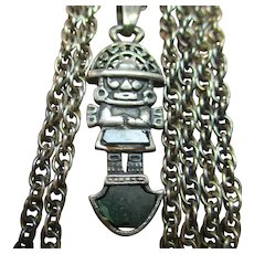 Vintage Handmade Artisan MEN'S Sterling Silver 925 MEXICAN AZTEC Necklace