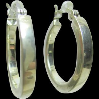 Vintage Estate Sterling Silver 925 HOOP Earrings - 7/8 of an Inch Diameter