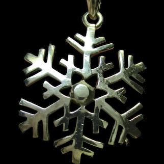 Vintage Handmade Artisan SNOWFLAKE 925 Sterling Silver Necklace w/Triple Chain