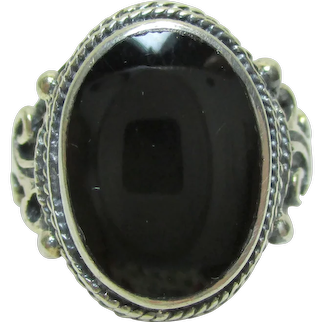 Vintage Estate ONYX & Openwork Sterling Silver 925 Ring - 7.7 Grams - Size 6.75