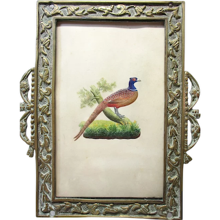 Antique Very Detailed Embossed Hand-Painted Picture of a Bird in Brass Frame
