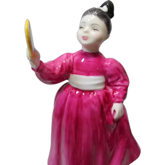 Vintage ROYAL DOULTON Fine Bone China Figurine of Girl with Mirror Titled VANITY