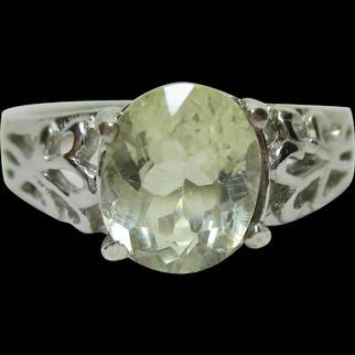 Vintage Estate Genuine CITRINE Filigree Sterling Silver 925 Ring - Size 8