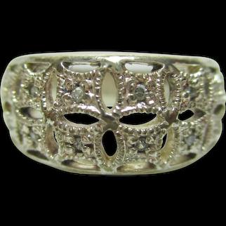 Vintage Estate Filigree Sterling Silver 925 Ring with Genuine White Topaz - Size 7