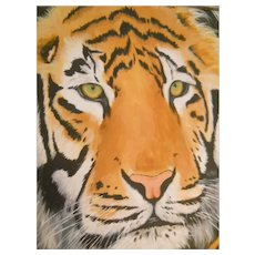 Spectacular Original Acrylic Painting of a TIGER Face by Artist Lal Brecht