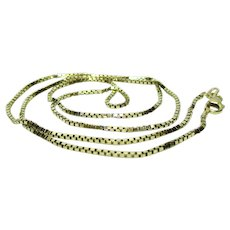 Vintage Estate 14K Yellow Gold BOX Chain Necklace - 20 Inches Long - 6.0 Grams
