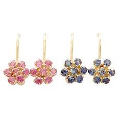 2 Pairs Earrings, Screw Backs, a) Burma Ruby, b) Sapphire.