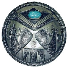 Thunderbird Belt Buckle Sterling Silver & Turquoise, AZ