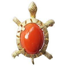 Coral Cabochon, 14K Gold Karbra© Turtle Pin