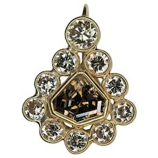 Shield Shaped Fancy Color Champagne Diamond 18K Gold Pendant with Accent Diamonds