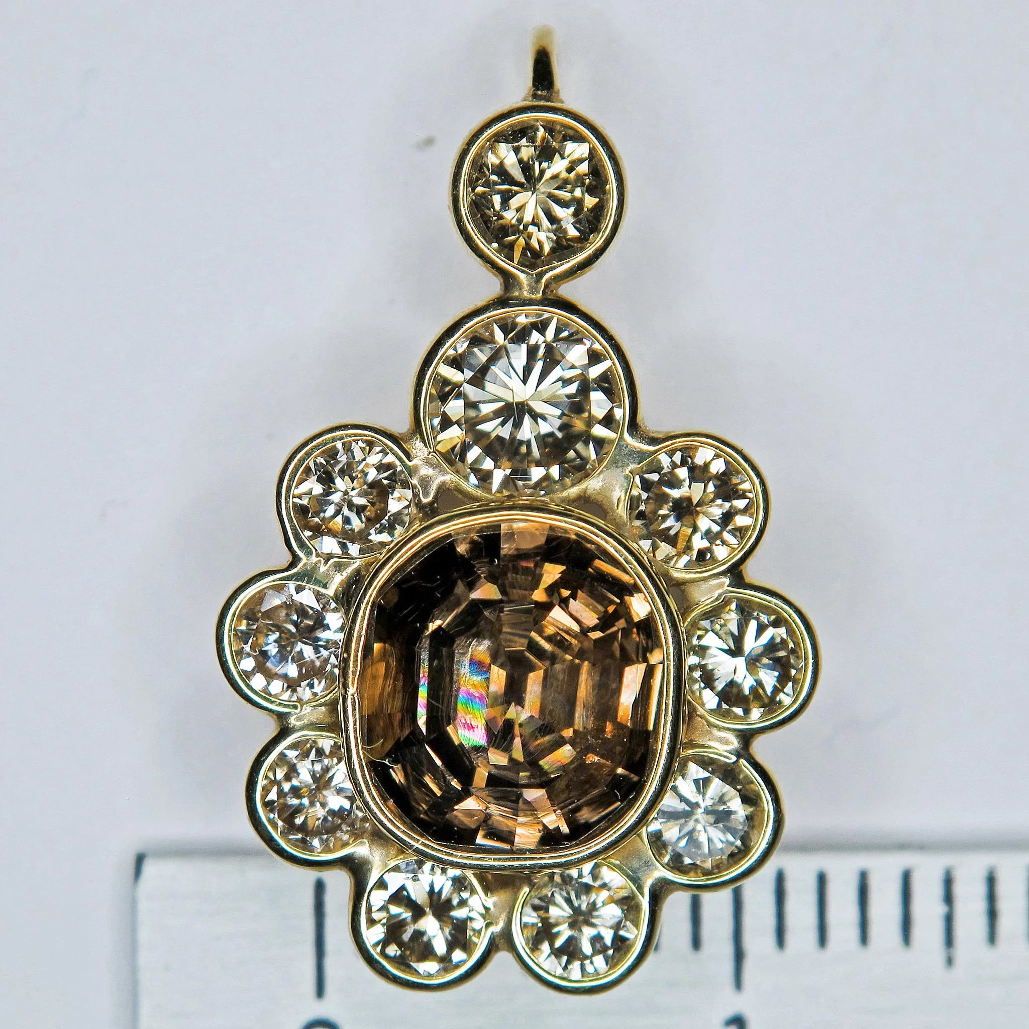558cc85a9 Fancy Color, Modified Step-Cut, Cushion Shape Diamond, 18K Gold Pendant w.  Click to expand