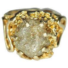 "8.33 carat Diamond (Natural Free Form ""Diamond Rough""™), 14K Gold Ring"