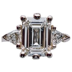"DIAMOND EMERALD Cut 1.06ct., ""GIA: H, Vs/1"", Ring w/ Diamond Side Stone Trillions"