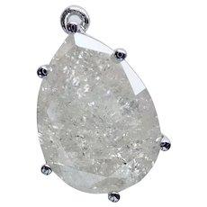 DIAMOND 7.09 Carat Pear Shape Platinum Pendant, Ice Life...